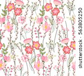 seamless spring pattern with... | Shutterstock .eps vector #563805250