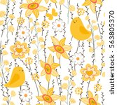seamless spring pattern with... | Shutterstock .eps vector #563805370