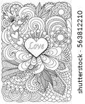 heart shape the word love on... | Shutterstock .eps vector #563812210