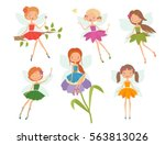 cartoon character set of cute...   Shutterstock .eps vector #563813026