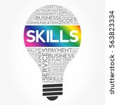 skills bulb word cloud collage  ... | Shutterstock .eps vector #563823334