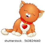 Stock photo cute cartoon kitten wearing a red collar with heart shaped tag 563824660