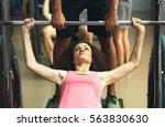 young woman training with... | Shutterstock . vector #563830630