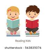 small kids holding open books... | Shutterstock .eps vector #563835076