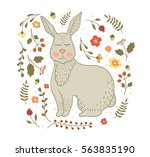 vector hand drawn rabbit with