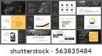 Yellow and grey elements for infographics on a white background. Presentation templates. Use in presentation, flyer and leaflet, corporate report, marketing, advertising, annual report, banner. | Shutterstock vector #563835484