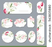 floral spring templates with... | Shutterstock .eps vector #563835880