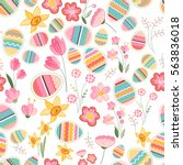 floral seamless pattern with... | Shutterstock .eps vector #563836018