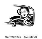 female motorist   retro clip art | Shutterstock .eps vector #56383990