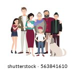big family portrait. happy... | Shutterstock .eps vector #563841610