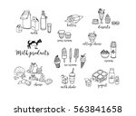 set of hand drawn contour dairy ... | Shutterstock .eps vector #563841658