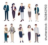 set of business people. men and ... | Shutterstock .eps vector #563842903