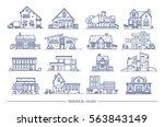 line art residential house... | Shutterstock .eps vector #563843149