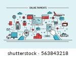 line art flat vector... | Shutterstock .eps vector #563843218
