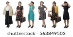 pretty woman with different... | Shutterstock . vector #563849503