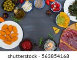 table with spanish tapas food   ... | Shutterstock . vector #563854168