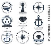 set of sea and nautical... | Shutterstock .eps vector #563856118