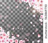blooming cherry. spring... | Shutterstock .eps vector #563869750