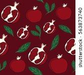 pomegranate pattern. bright...   Shutterstock .eps vector #563873740