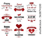 valentine's day labels  badges  ... | Shutterstock .eps vector #563874100