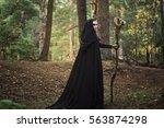 tales for halloween  the girl... | Shutterstock . vector #563874298