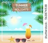 vector summer holiday... | Shutterstock .eps vector #563874538