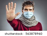 stop the infection  young man... | Shutterstock . vector #563878960
