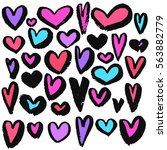 hearts grunge hand drawing...   Shutterstock .eps vector #563882779