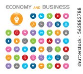 economy and business bubble... | Shutterstock .eps vector #563882788