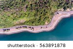 aerial view of road on sea... | Shutterstock . vector #563891878