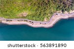 aerial view of road on sea... | Shutterstock . vector #563891890