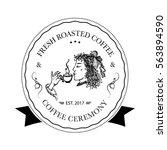 hand drawn logo for cafe ... | Shutterstock .eps vector #563894590