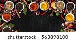 spices with ingredients on dark ... | Shutterstock . vector #563898100