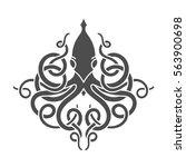 flat linear kraken illustration | Shutterstock . vector #563900698
