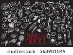 vector set with food....   Shutterstock .eps vector #563901049