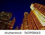 chicago buildings at night. low ...   Shutterstock . vector #563908663