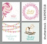 set of baby shower cute card.... | Shutterstock .eps vector #563909218