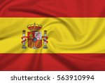 spain flag with fabric texture. ... | Shutterstock . vector #563910994