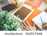some hands in office shows to...   Shutterstock . vector #563917648