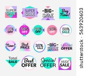 set of flat design sale... | Shutterstock .eps vector #563920603