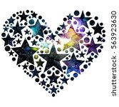 Watercolor Heart With Stars ...