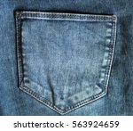 Rear Of Blue Jeans With Pocket...