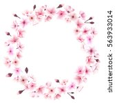 spring wreath with cherry... | Shutterstock . vector #563933014