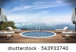 3d rendering  swimming pool ... | Shutterstock . vector #563933740