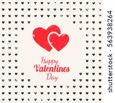happy valentines day card with... | Shutterstock .eps vector #563938264