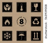 packaging symbols handle with... | Shutterstock .eps vector #563939008
