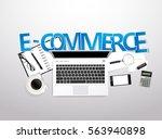 vector top view of workplace... | Shutterstock .eps vector #563940898