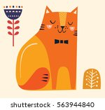 decorative yellow cat and flower | Shutterstock .eps vector #563944840