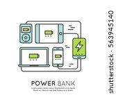 web template power bank battery ... | Shutterstock .eps vector #563945140