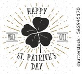 vintage label  hand drawn lucky ... | Shutterstock .eps vector #563945170